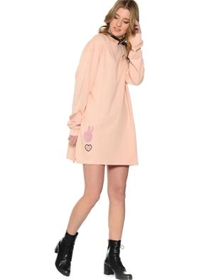 Missguided Pembe Pano Desenli Elbise