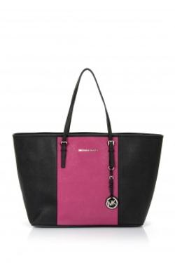 Michael Kors 30T4SJTT2T Medium Jet Set Travel Striped Multifunction Tote Black-Pink Çanta