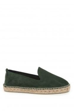MANEBI Hamptons Suede Leather Loden Green Espadril