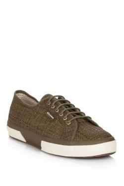 Superga 2750-BRAIDEDSYNLEARAFFIAW DK GREEN Superga