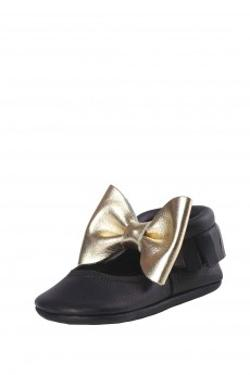 Moots Baby Moccasins Black-Gold Ballerina Bow Ayakkabı