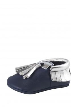 Moots Baby Moccasins Navy Blue-Silver Tassel Ayakkabı