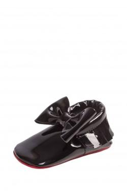 Moots Baby Moccasins Black-Red Bow Ayakkabı