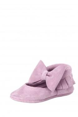 Moots Baby Moccasins SugarBalm Ballerina Bow Pembe Süet Ayakkabı