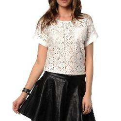Only Tişört Fairy Lace Top 15084411-WWWW