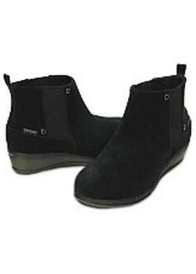 Crocs Stretch Sole Wedge Bootie - Black-Black