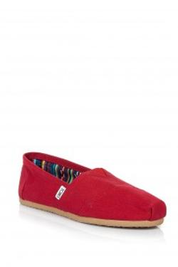 Toms Red Canvas Wm Clsc Alprg Nl Bayan Toms
