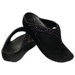 Crocs Sloane Embellished Flip - Black-Multi