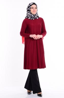 Sefamerve Piliseli Tunik 5039-10 Bordo