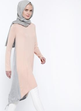 Everyday Basic Garnili Tunik - Somon Gri