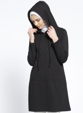 Everyday Basic Kapüşonlu Tunik - Siyah