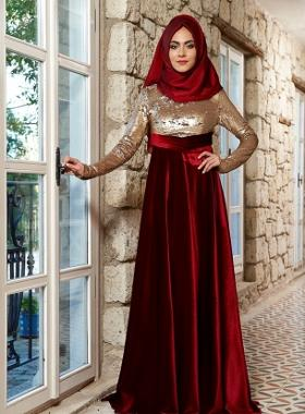 Mevra Laura Abiye Elbise - Gold Bordo