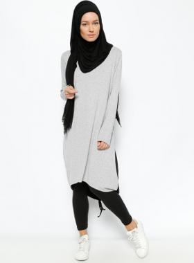 Everyday Basic Garnili Tunik- Siyah Gri