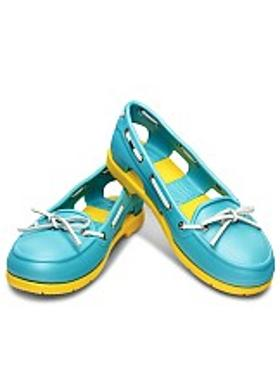 Crocs Beach Line Boat Shoe Women - Aqua-Yellow