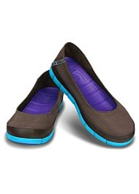 Crocs Stretch Sole Flat Women - Espresso-Electric Blue