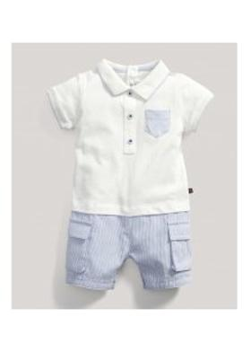 Mamas Papas M&P Polo Romper Blue Erkek