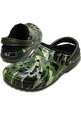 Crocs Classic Lined Graphic Clog - Dark Camo Green-Black