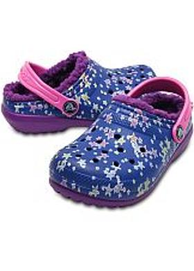 Crocs Classic Lined Graphic Clog Kids - Blue Jean-Amethyst