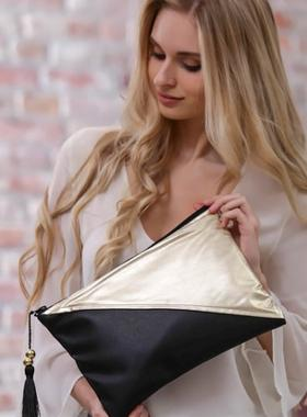 Chiccy Slash Vegan Clutch Çanta - Siyah Gold
