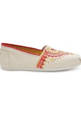 Toms Natural Beaded Embroidery Women Alpargata