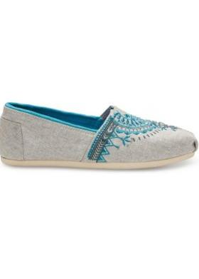 Toms Light Grey Beaded Embroidery Women Alpargata