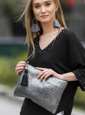 Chiccy Antrasit Pullar Clutch Çanta - Antrasit