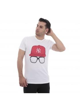 New Era Mlb Cap And Glasses Tee Neyyan Whı Erkek T-Shirt Beyaz