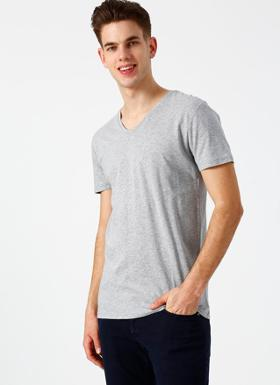 Lee Cooper V Yaka Basic Gri T-Shirt