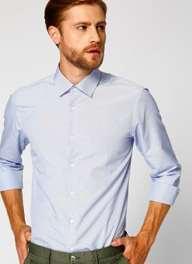 Cotton Bar Erkek Slim Fit Lacivert Gömlek