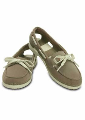 Crocs BEACH LINE BOAT SHOE MIX Haki Kadın Babet