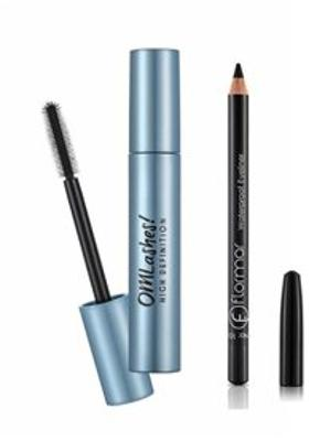 Flormar Flormar Waterproof Eyeliner No:101 Black Ice+Omlashes High Defination Maskara 12 Ml
