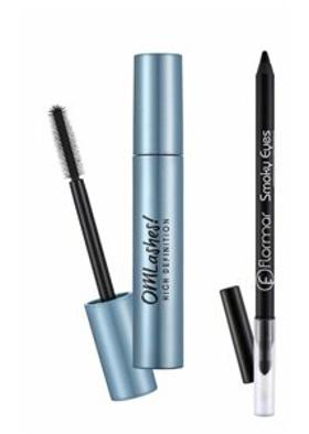 Flormar Flormar Waterproof Eyeliner Smoky 01.Carbon Black+ Omlashes High Defination Maskara 12 Ml