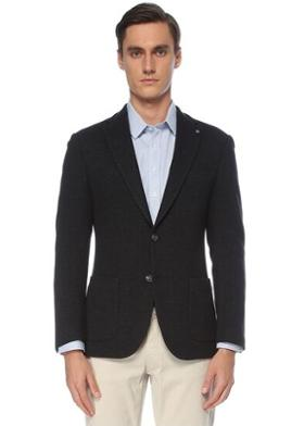 Network Slim Fit Lacivert Jersey Ceket