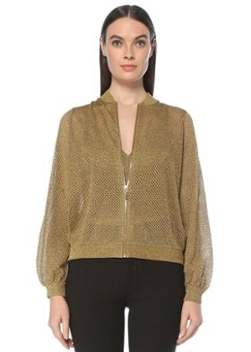Network Slim Fit Gold Delik Dokulu Hırka