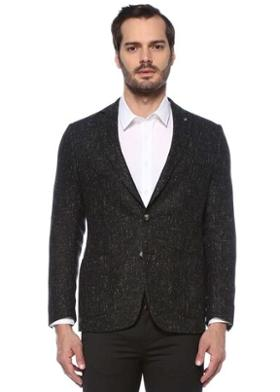 Network Slim Fit Drop 6 Siyah Tweed Dokulu Kaşmir Ceket